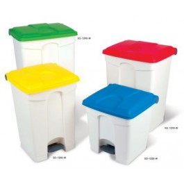 90 Litre Step on Container with Coloured Lids