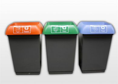 Stylish colour coded recycling bins