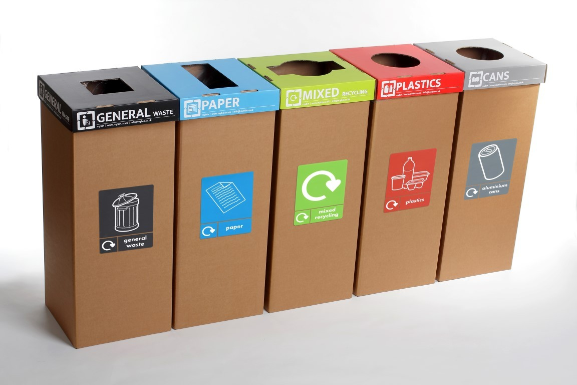 Pack Of 5 Cardboard Recycling Bins With Stickers And Clear