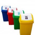 Recycling Bin with Flip Top Lid & Recycling Sticker 50 Litres