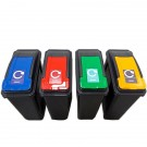 Recycling Bin with Coloured Lid and Sticker 25 Litres