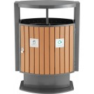 Wood Look Outdoor Recycling Bin 2 x 39 Litre Compartments
