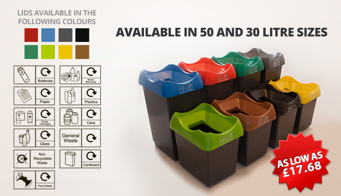 50 litre recycling bins with colour coded lids and stickers